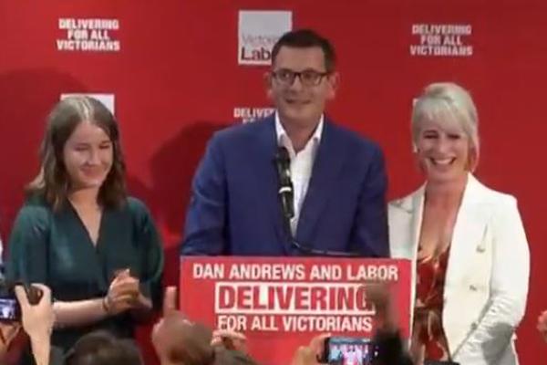 Article image for Re-elected Premier praises 'progressive' Victoria in triumphant victory speech