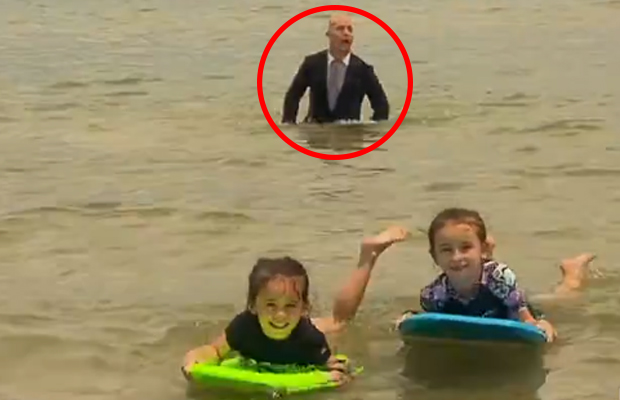 Article image for Swimming TV journalist reveals cheeky motive behind mid-report shenanigans
