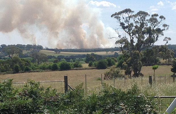 Article image for Out-of-control fire burns south of Ballarat
