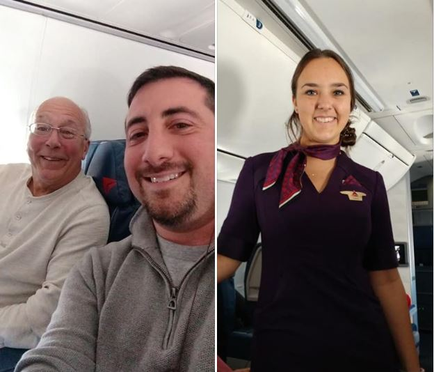 Article image for Adorable Dad books himself on every flight his daughter is working over Christmas