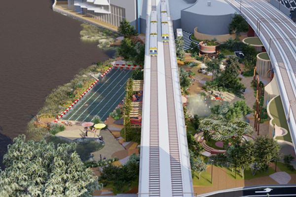 European-inspired upgrade proposed for banks of the Yarra, featuring 50m pool