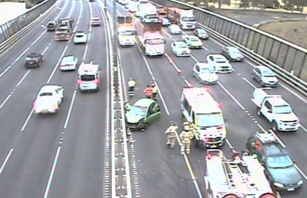 Article image for West Gate Bridge crash: Lanes closed, driver trapped