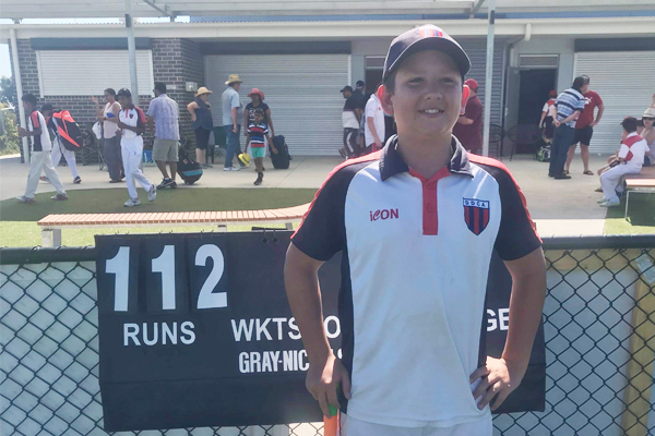 Article image for Rumour confirmed: Little legend hits 112 off 60 balls in under 12s cricket
