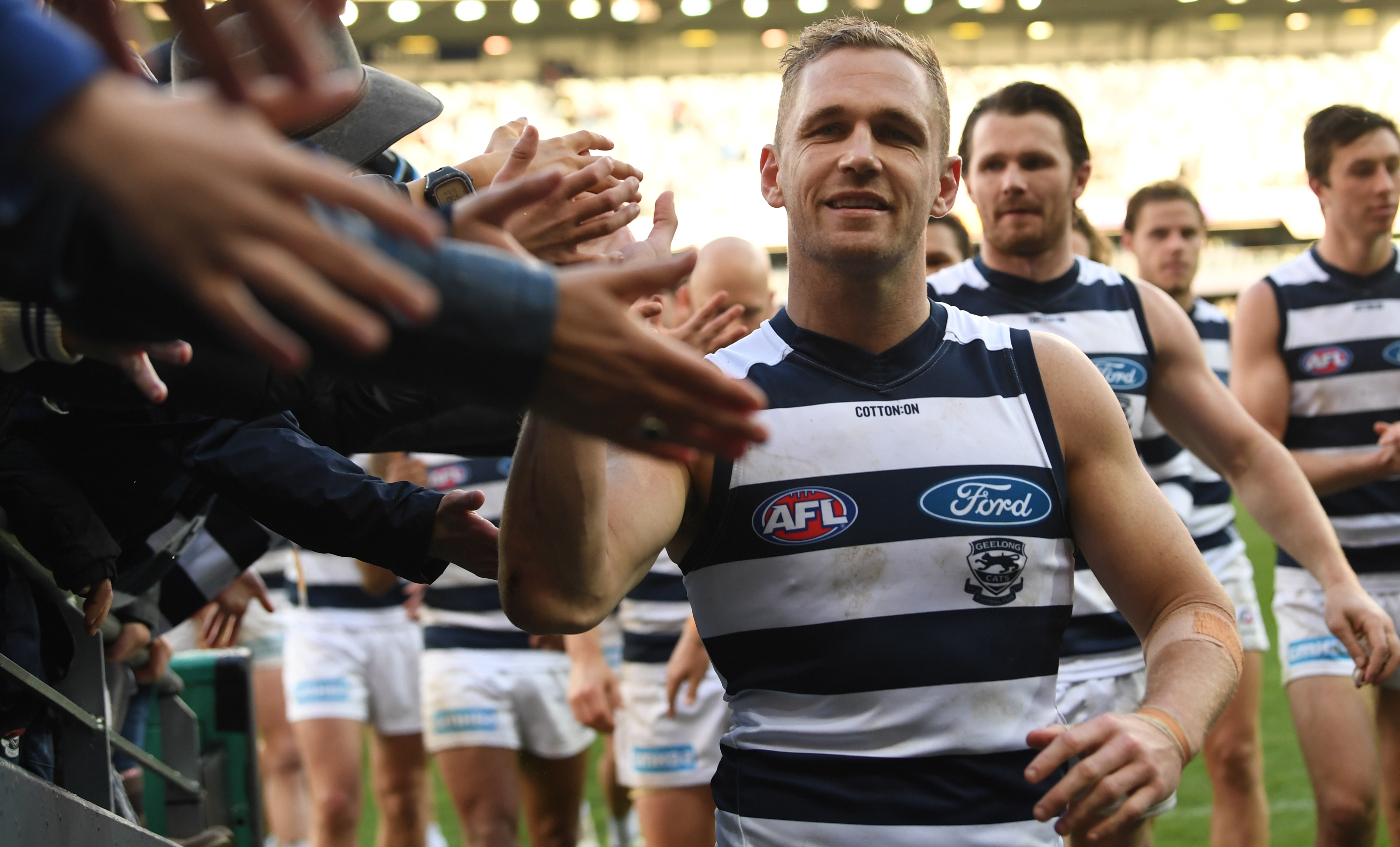 Article image for Dwayne Russell noticed something very different about Joel Selwood today