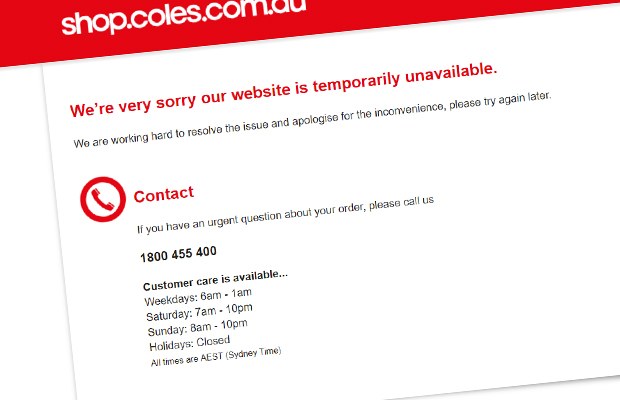 Article image for Coles website crashes, causing problems for online shoppers