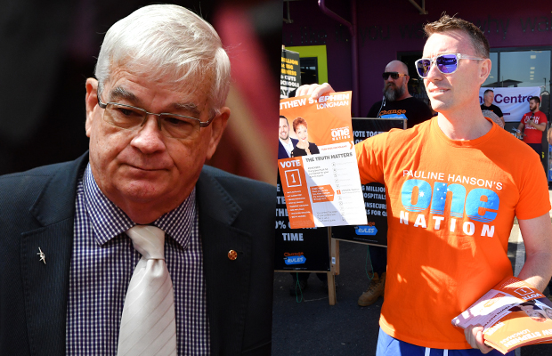 """Article image for Hanson adviser banned from parliament, rival MP admits to """"putting blood"""" on One Nation leader's door"""