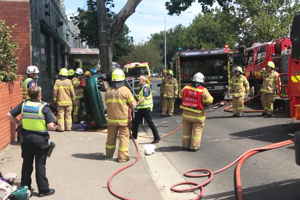 Article image for Hoddle Street reopened after car crashes into pole