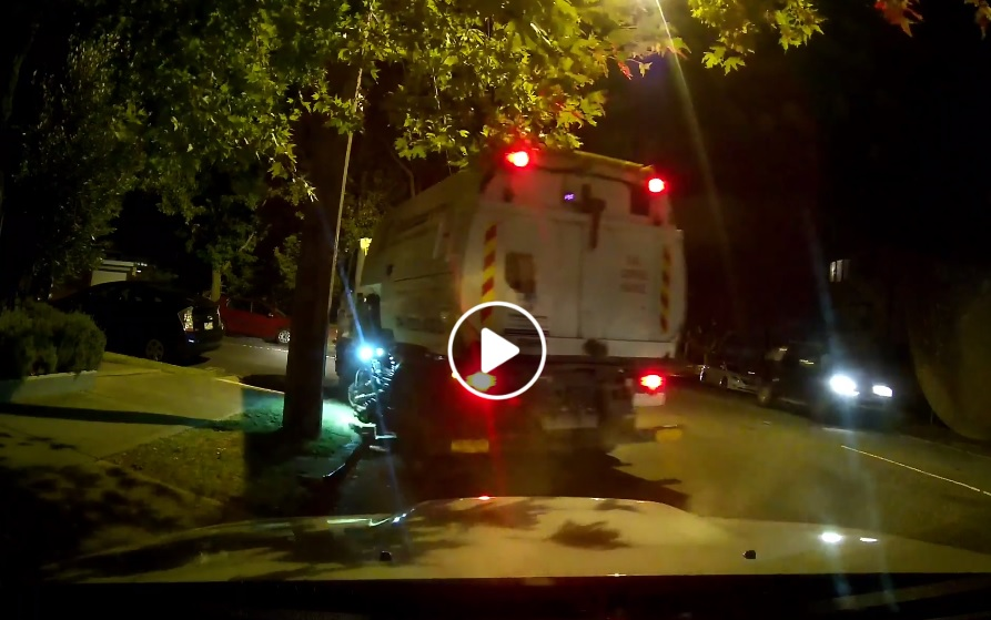 """Article image for Street sweeper does """"hit and run"""" after clipping parked car"""