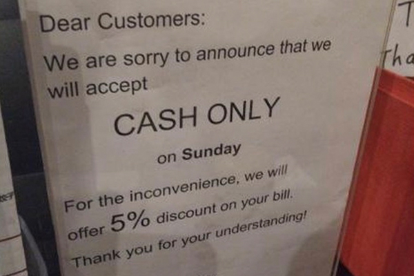 Article image for Questions raised over popular restaurant's 'cash only' Sundays…