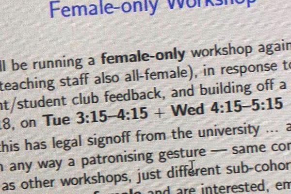 Article image for Uni student shocked to learn why he can't attend a workshop relating to his course
