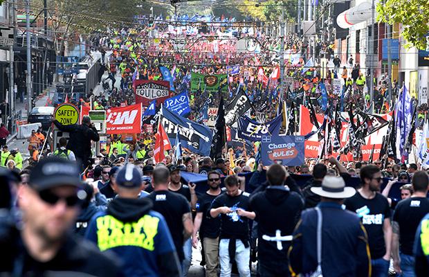 Article image for Union protest shuts down CBD