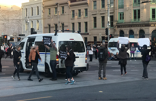 Article image for 39 people arrested as vegan 'activists' cause morning chaos in CBD