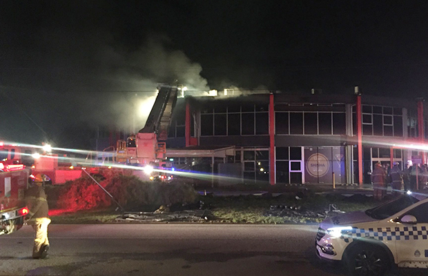 Article image for Smoke warning: Dandenong entertainment centre goes up in flames