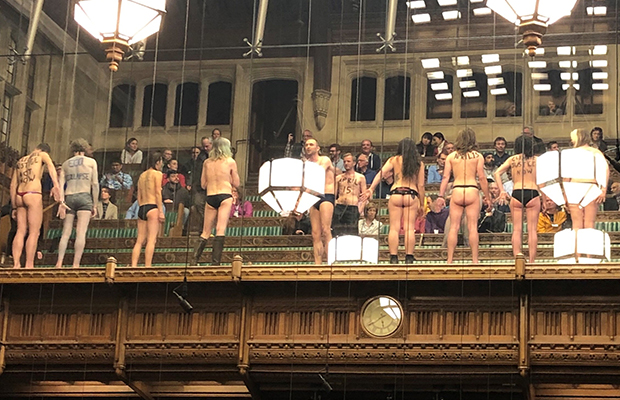 Article image for Half-naked protesters break Brexit deadlock (momentarily)