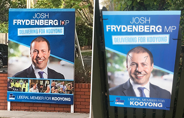Posters featuring Josh Frydenberg vandalised with offensive graffiti