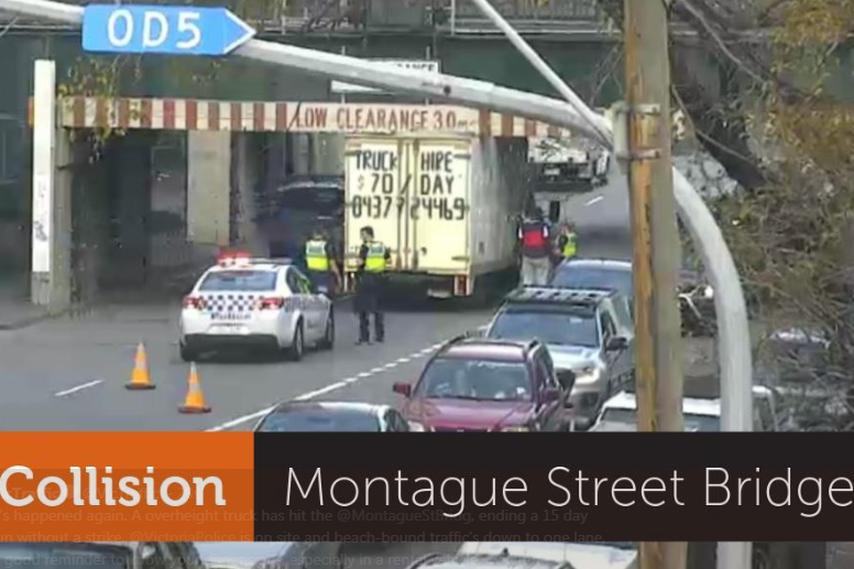 Article image for Another truck has hit the Montague Street bridge