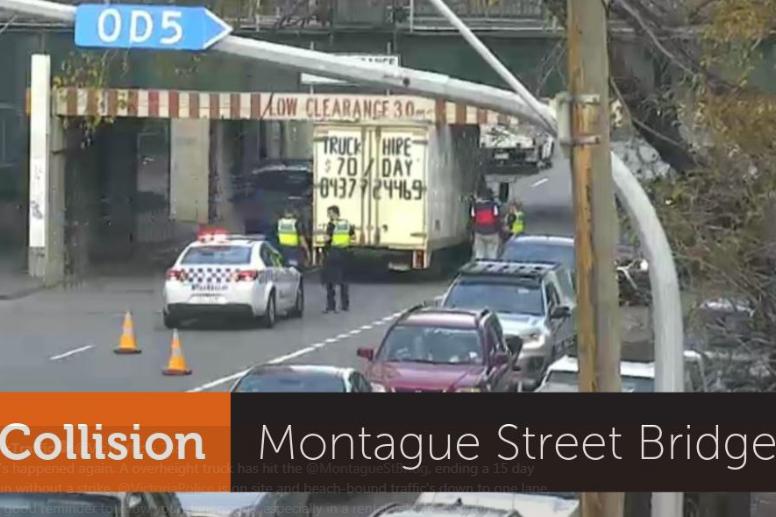 Another truck has hit the Montague Street bridge