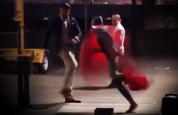 Video: Gutless bully kicks Southbank's balloon busker, runs away