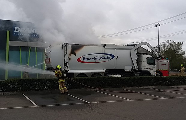 Article image for Waste truck catches fire at Laverton