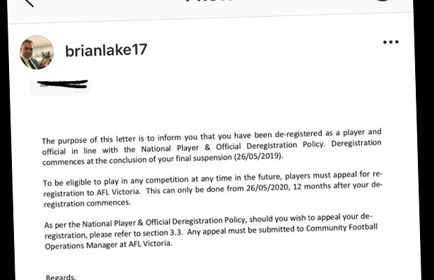 Brian Lake banned from playing footy