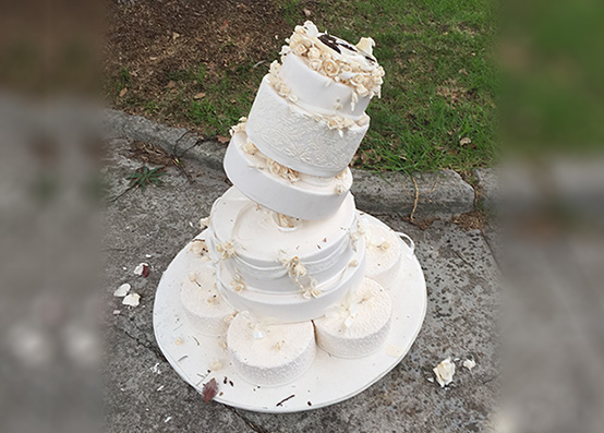 Abandoned wedding cake found on side of the road