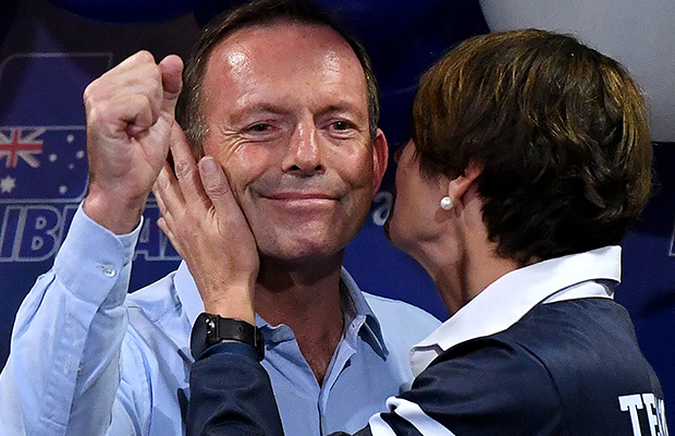 Article image for Tony Abbott defeated — but he has 'good news' and big smile