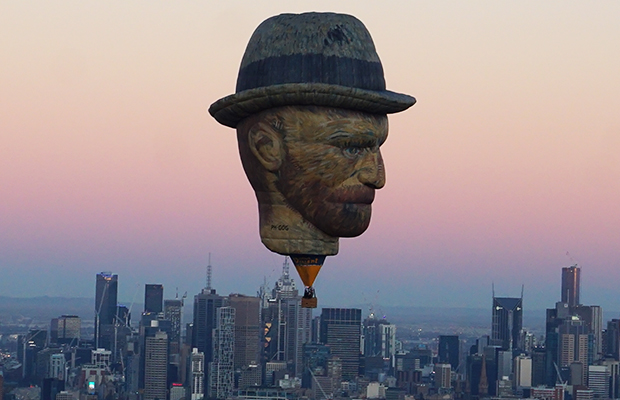Article image for The story behind the man floating above Melbourne Thursday morning