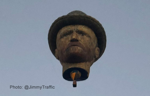 The story behind the strange head floating above Melbourne this morning