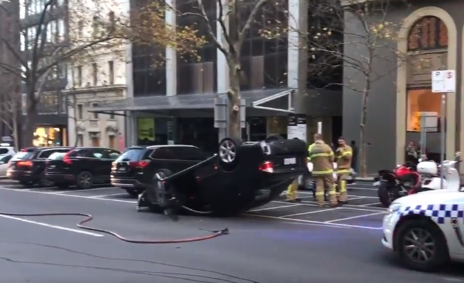 Article image for Car flips on Exhibition Street in the CBD