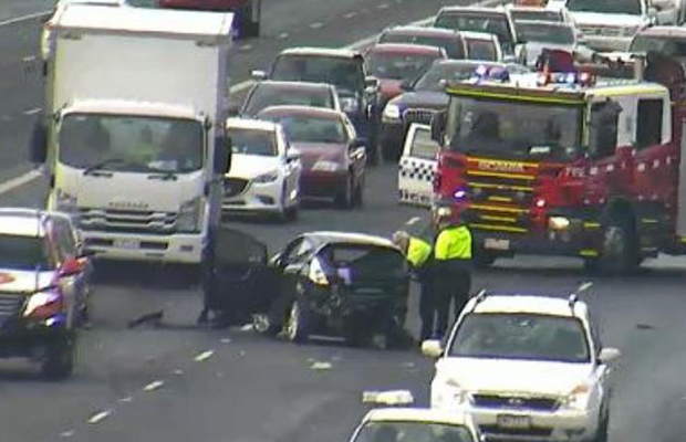 Article image for Monash Freeway reopened: Woman fighting for life