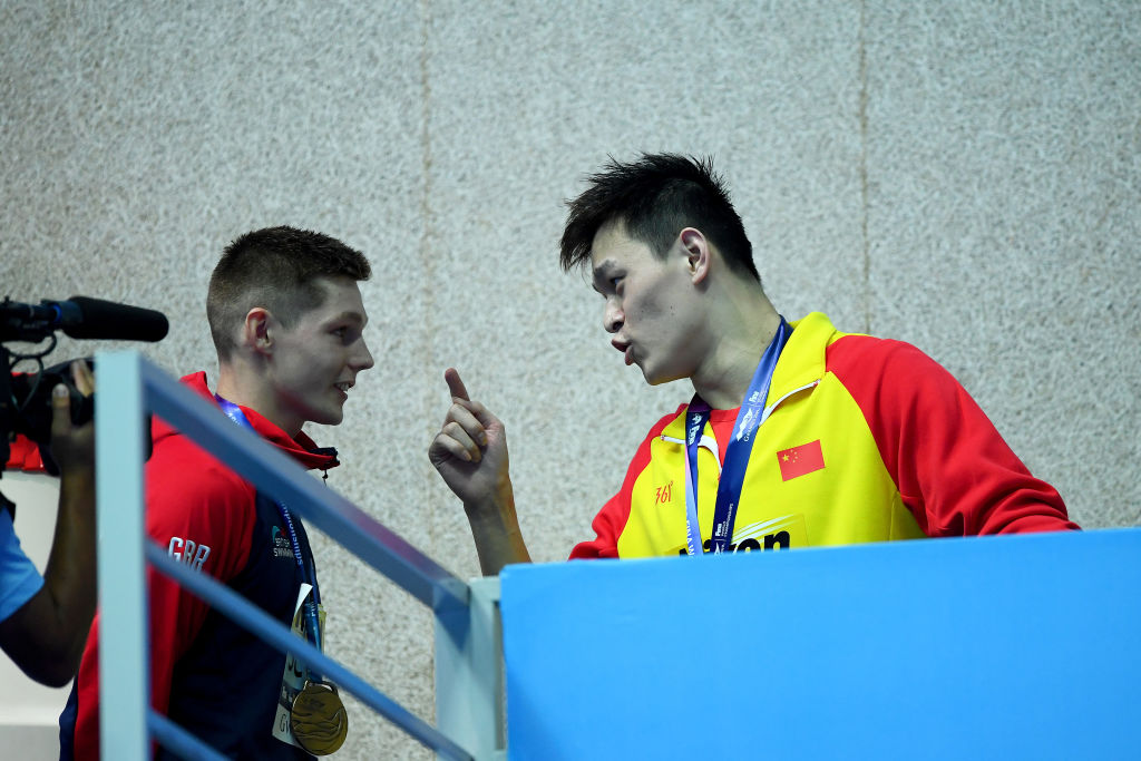 Article image for 'You loser!': Sun Yang lashes out at British swimmer after another podium protest