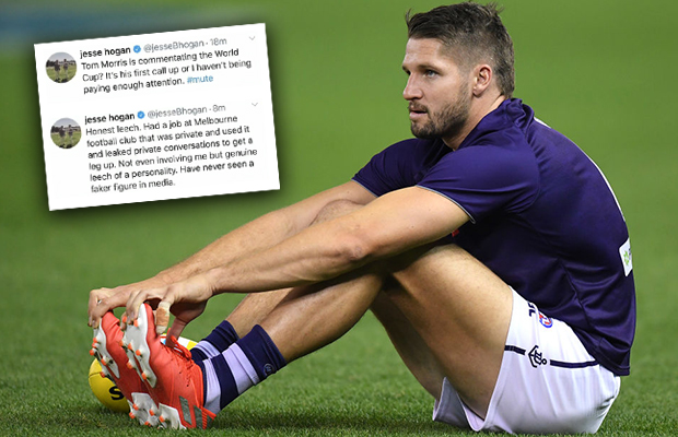 Article image for Tom Morris responds to Twitter abuse from Fremantle forward Jesse Hogan