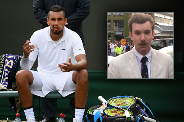 Article image for Nick Kyrgios irks English tennis fans — but he likes our reporter's moustache