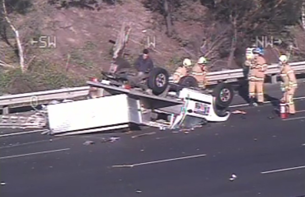 Article image for Ute flips in dramatic Eastern Freeway smash