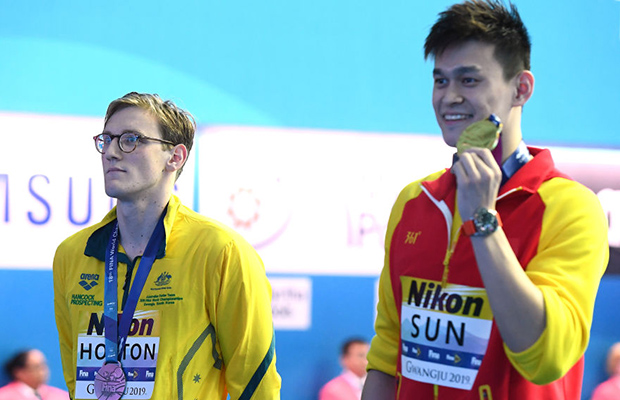 Article image for FINA takes action against Mack Horton over podium protest as re-match looms