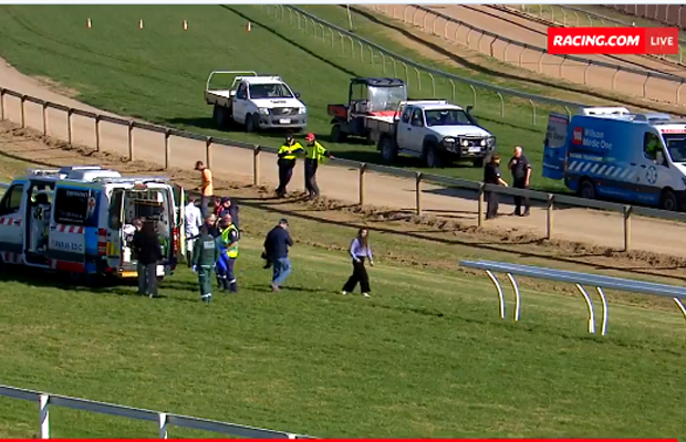 Article image for Horror fall: Race meeting cancelled after four jockeys go down