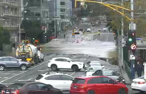Article image for CBD flood clean up: Busy intersection remains closed for a second day