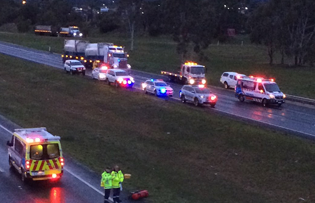 Article image for Western Freeway shutdown: One killed, one critical in fiery double crash