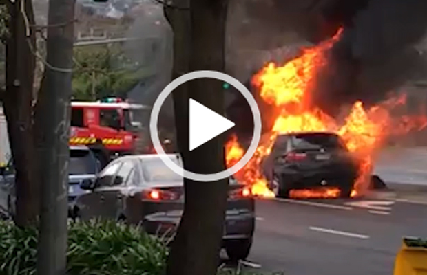 Article image for BMW bursts into flames at Eaglemont intersection