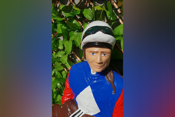 Article image for Have you seen Damien? Beloved jockey statue snatched