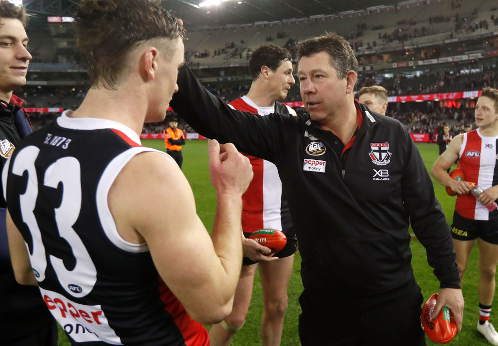 Article image for St Kilda caretaker coach explains why footy is just a 'small part' of his life