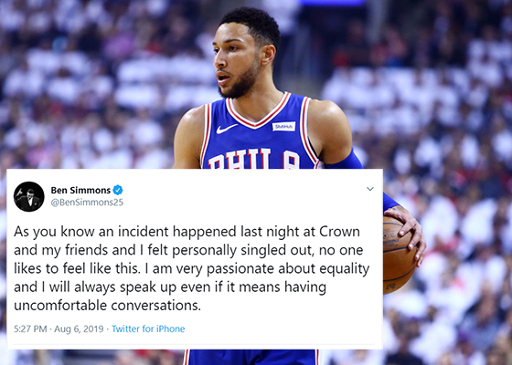 Article image for Ben Simmons stands by his accusations of racial vilification against Crown