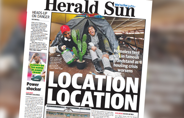 Article image for Historic Melbourne grandstand turned into a tent city as the housing crisis worsens