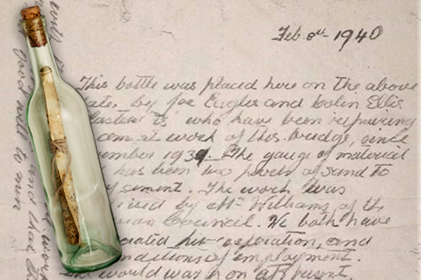Article image for Remarkable 79-year-old peace message found in bottle cemented into Melbourne bridge
