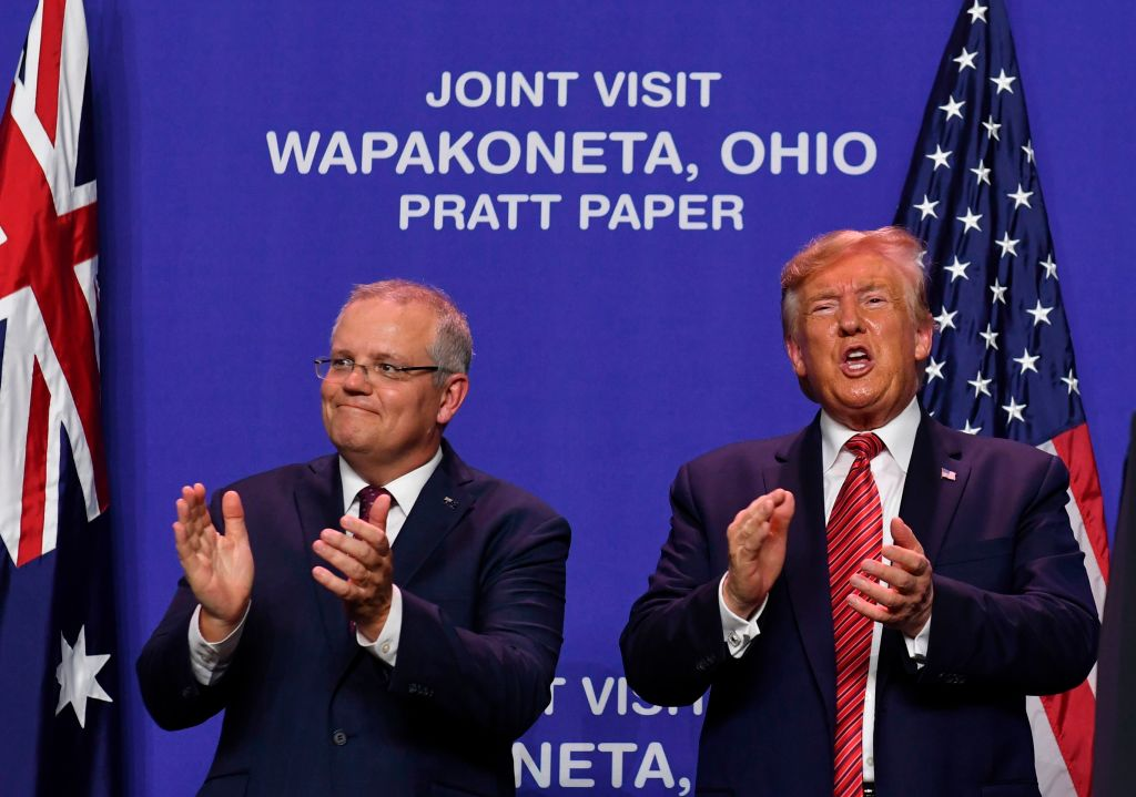 'A big political coup': Scott Morrison joins Donald Trump for opening of Australian paper mill in Ohio
