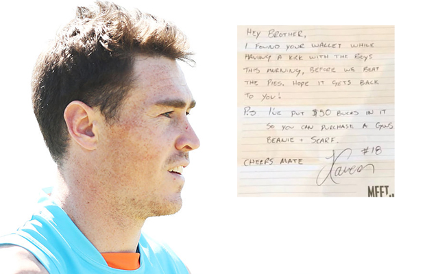 Article image for Footy fan has lost wallet returned by GWS star