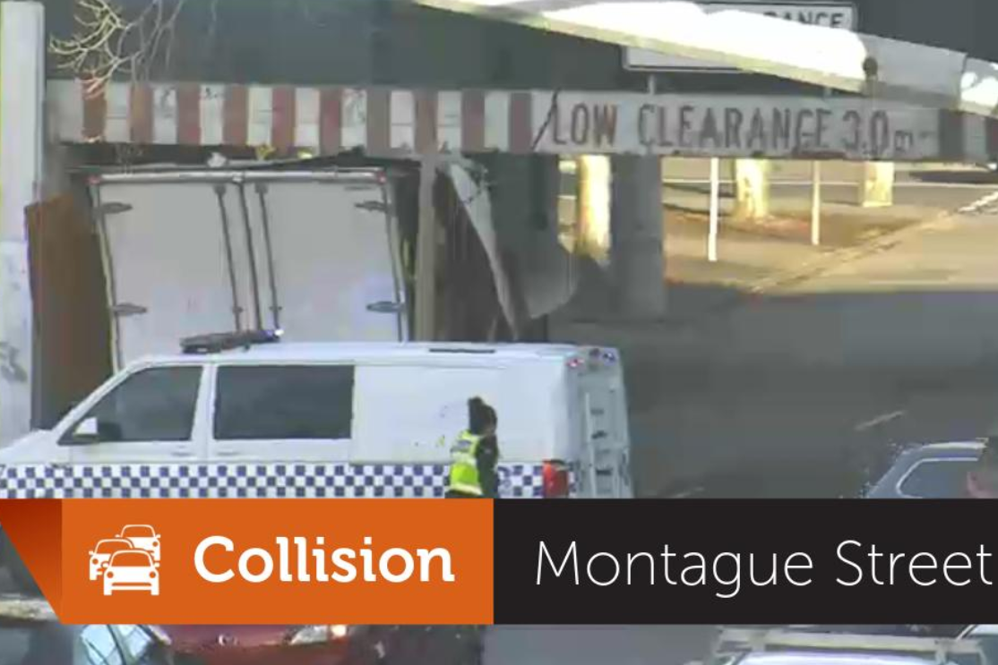 Article image for Truck collides with Montague Street bridge