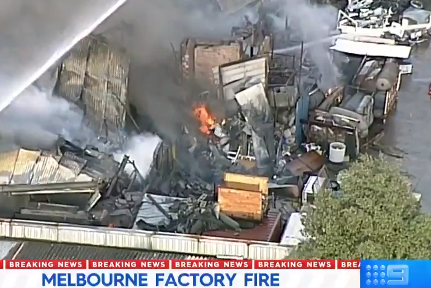 Article image for Firefighters battle Dandenong factory blaze
