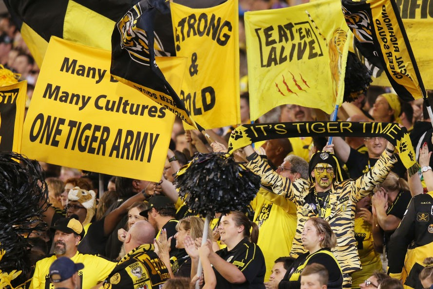Article image for The 'rabid' Tigers fans who'll have to wait until late Saturday night to find out the Grand Final result