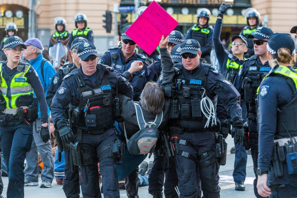 Article image for Extinction Rebellion protest: 59 people arrested after blocking CBD intersection
